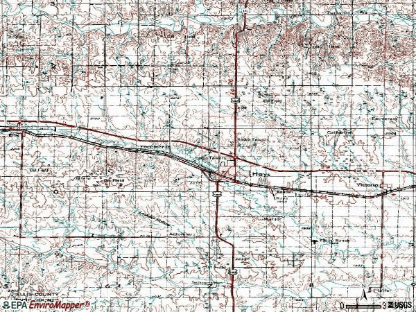 Zip code 67601 topographic map