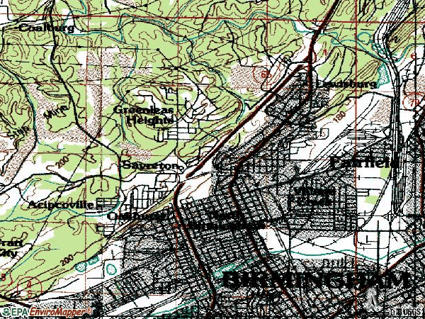 Zip code 35207 topographic map