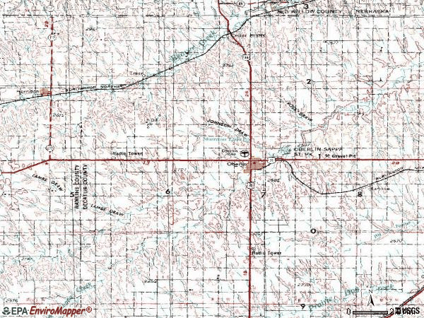 Zip code 67749 topographic map