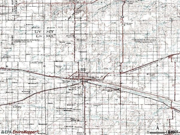 Zip code 67801 topographic map