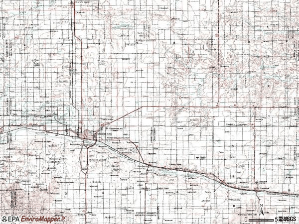 Zip code 67846 topographic map