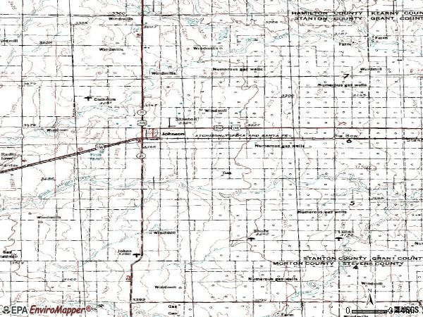 Zip code 67855 topographic map