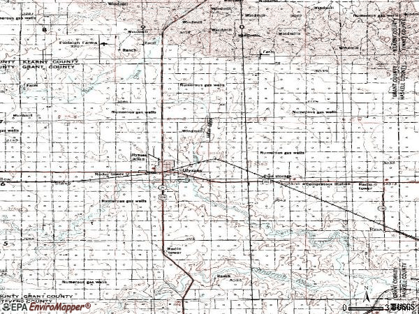 Zip code 67880 topographic map