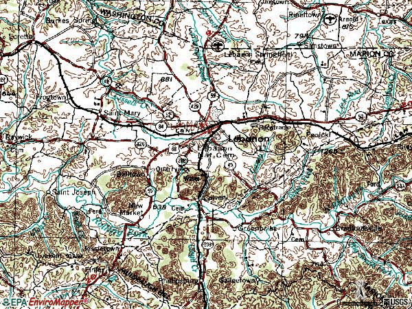 Zip code 40033 topographic map