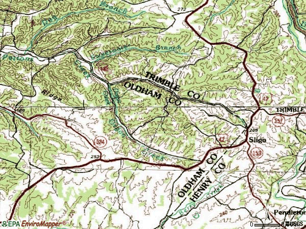 Zip code 40055 topographic map