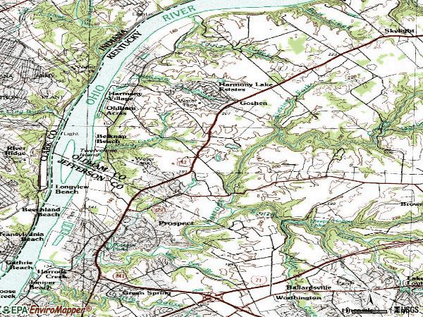 Zip code 40059 topographic map