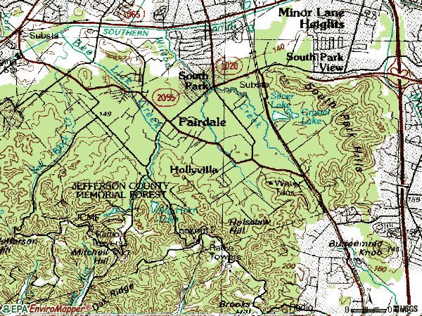 Zip code 40118 topographic map