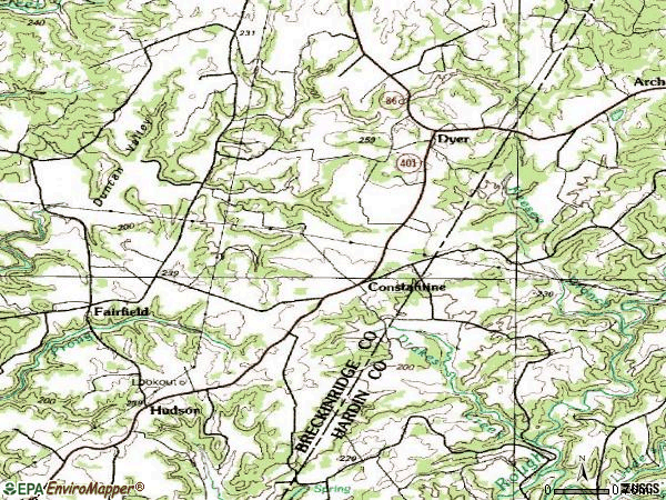 Zip code 40140 topographic map