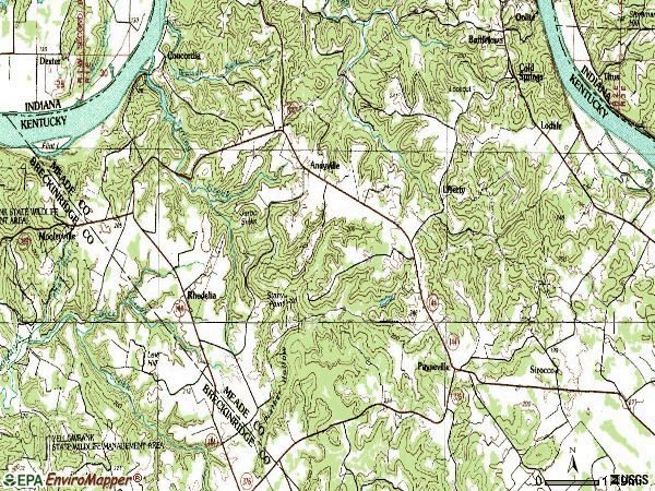 Zip code 40157 topographic map