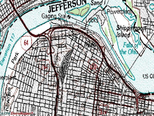 Zip code 40212 topographic map