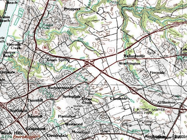Zip code 40241 topographic map
