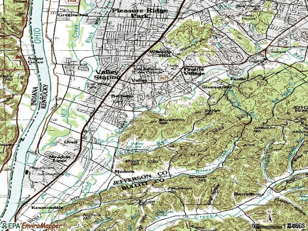 Zip code 40272 topographic map