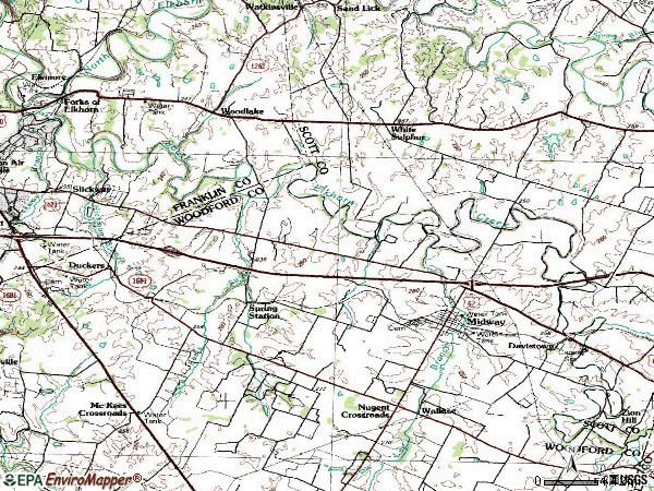 Zip code 40347 topographic map