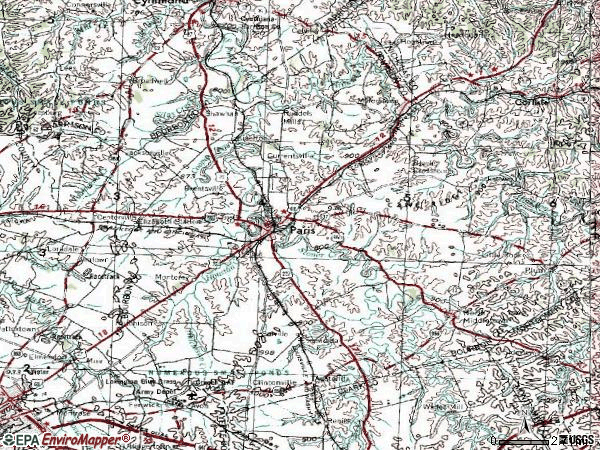 Zip code 40361 topographic map