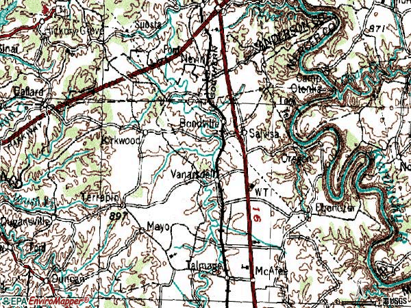 Zip code 40372 topographic map