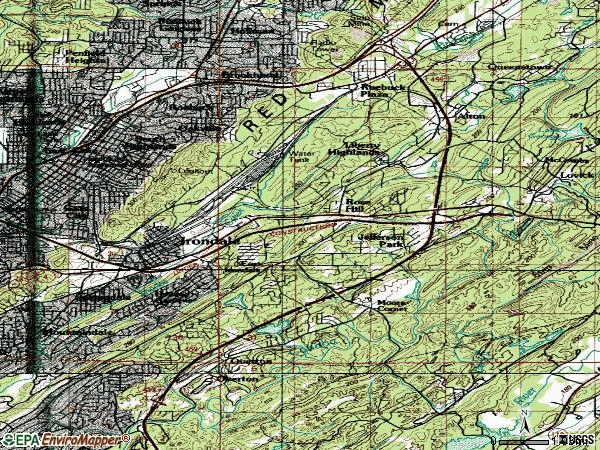 Zip code 35210 topographic map
