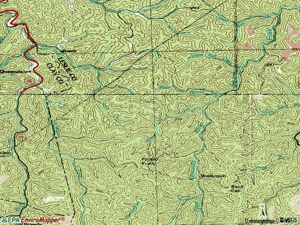 Zip code 40874 topographic map