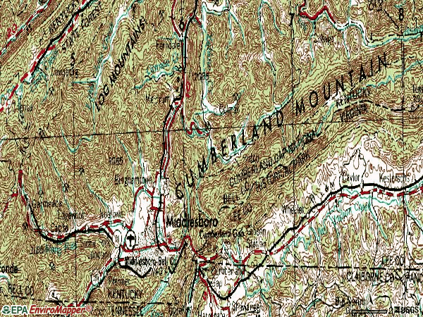 Zip code 40965 topographic map