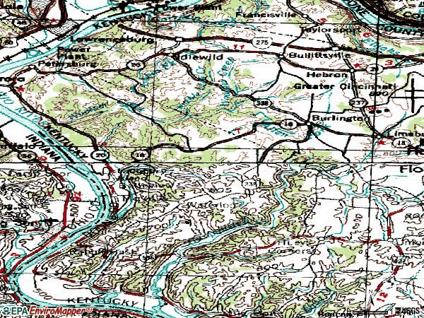 Zip code 41005 topographic map