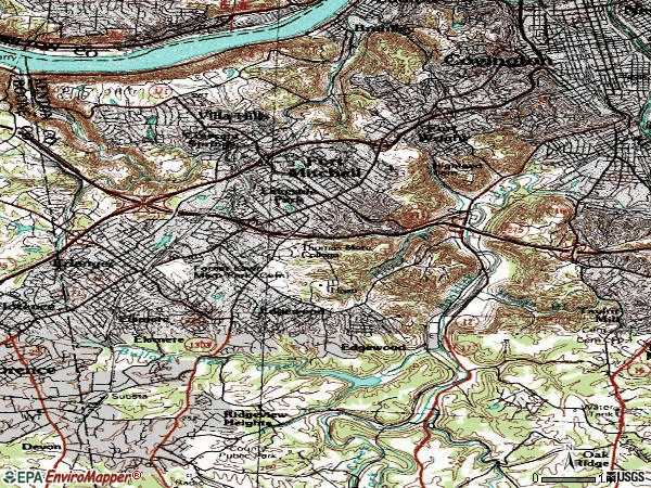 Zip code 41017 topographic map