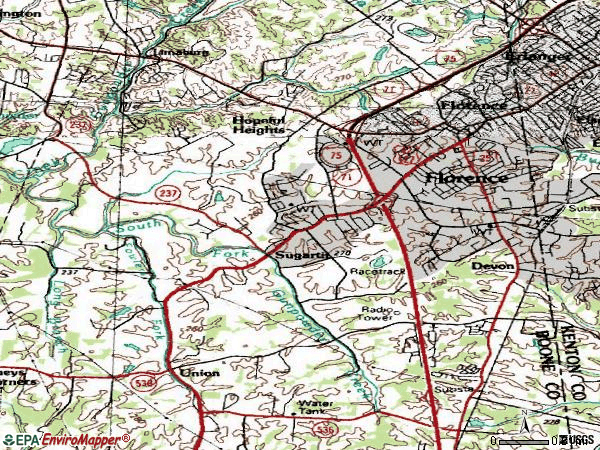 Zip code 41042 topographic map