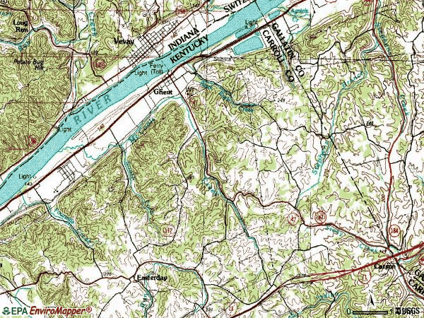Zip code 41045 topographic map
