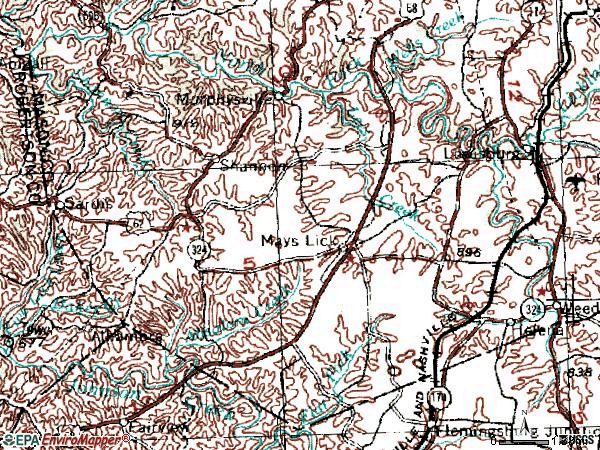 Zip code 41055 topographic map