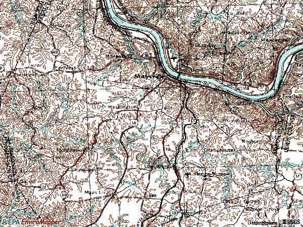 Zip code 41056 topographic map