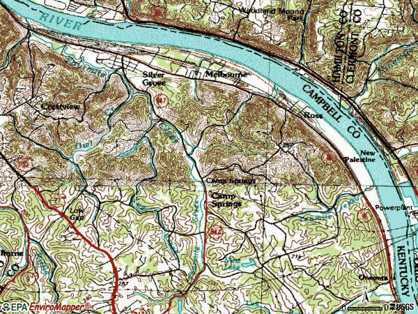 Zip code 41059 topographic map