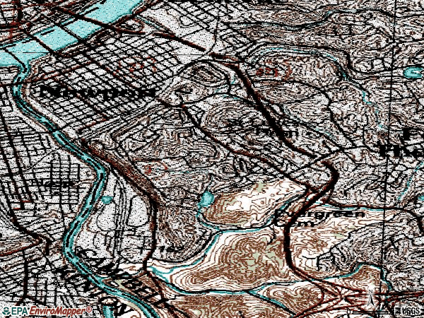 Zip code 41071 topographic map
