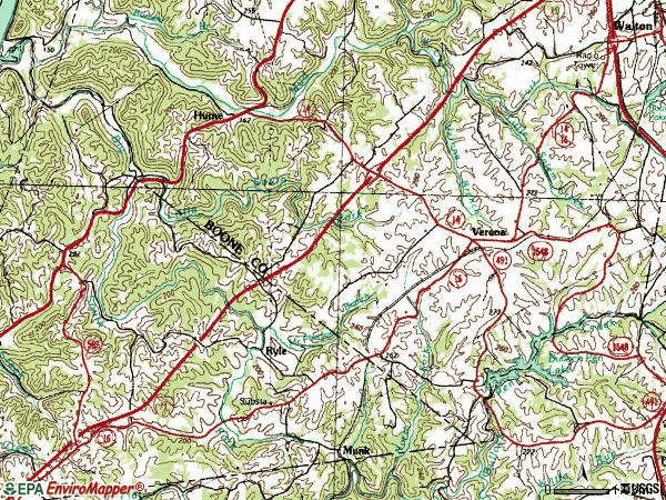 Zip code 41092 topographic map