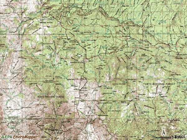 Zip code 85541 topographic map