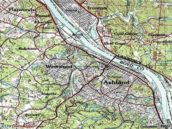 Zip code 41101 topographic map