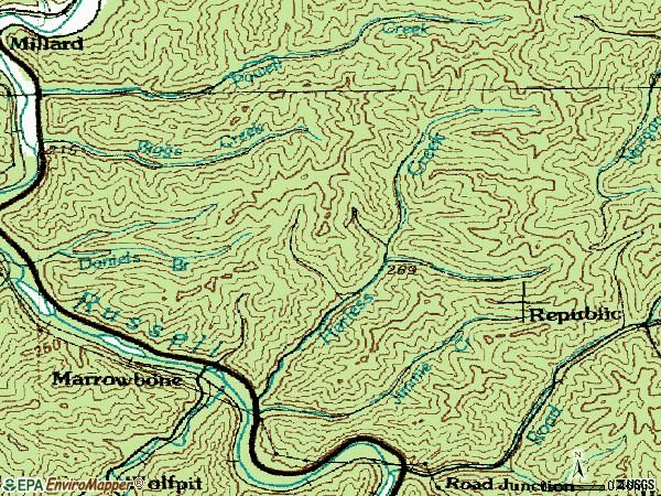 Zip code 41559 topographic map