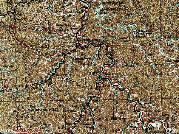 Zip code 41653 topographic map