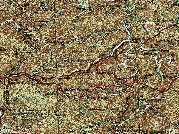 Zip code 41749 topographic map