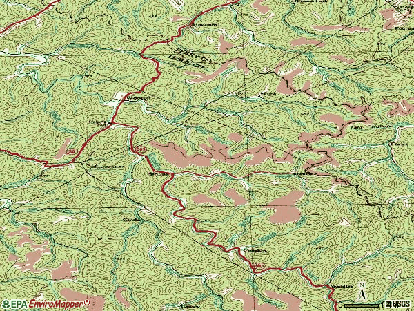 Zip code 41776 topographic map