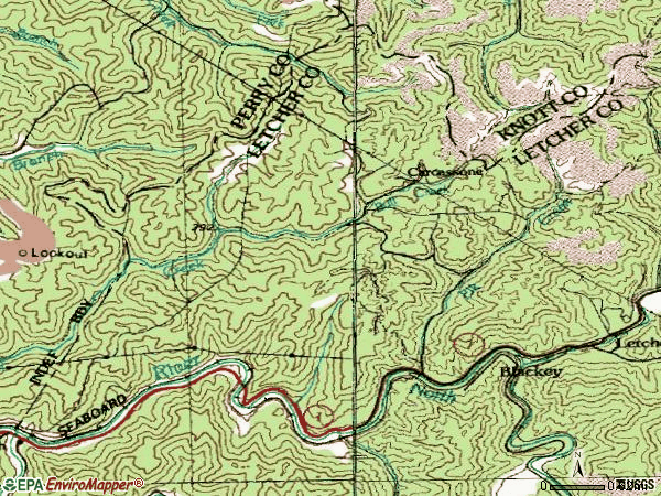 Zip code 41804 topographic map