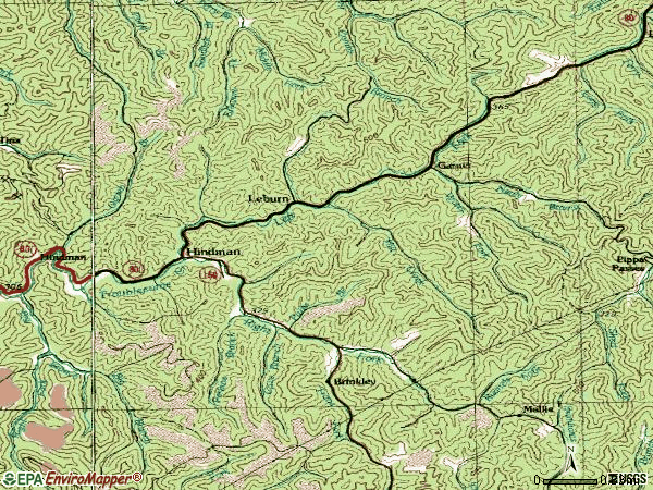 Zip code 41822 topographic map