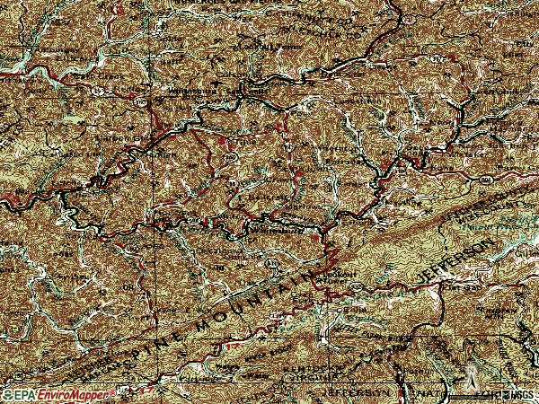 Zip code 41858 topographic map