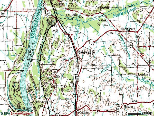 Zip code 42023 topographic map