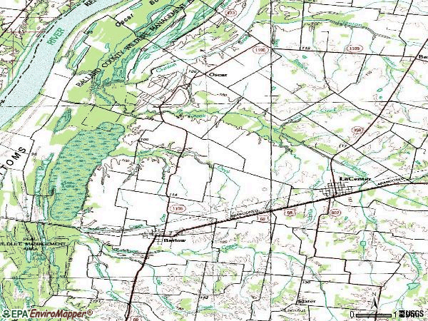 Zip code 42024 topographic map