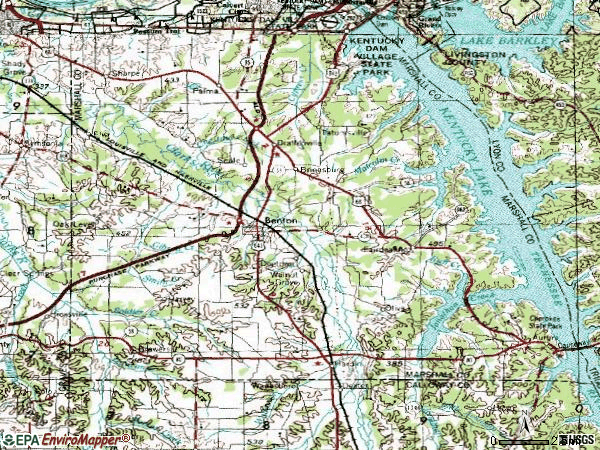 Zip code 42025 topographic map