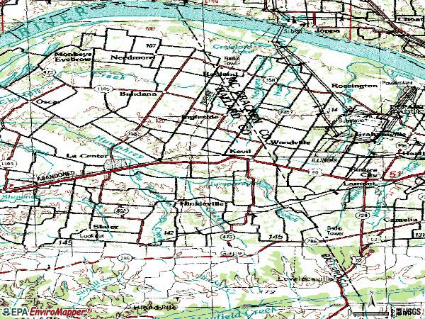 Zip code 42053 topographic map