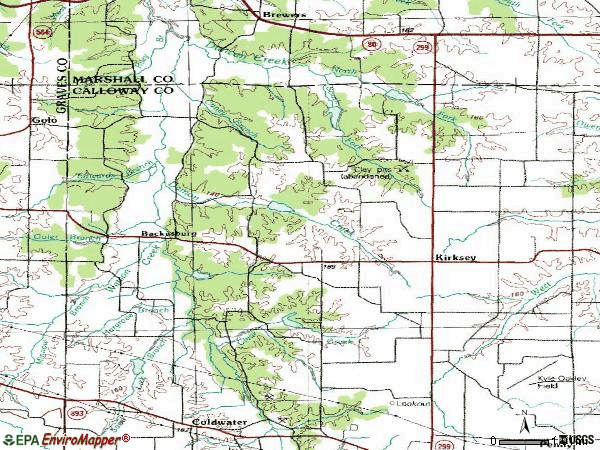 Zip code 42054 topographic map