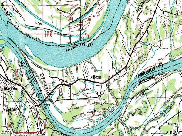 Zip code 42058 topographic map