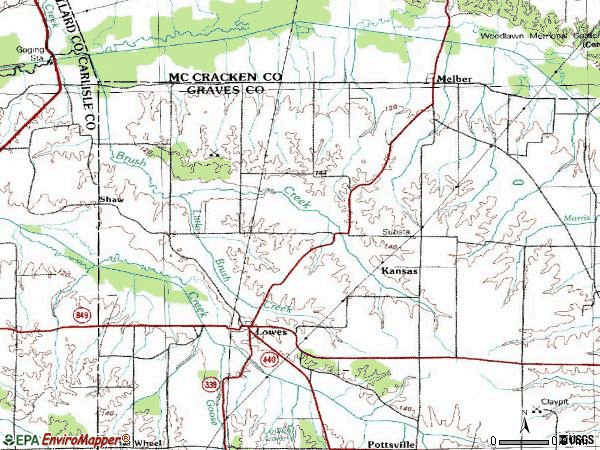 Zip code 42069 topographic map