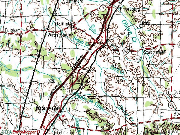 Zip code 42088 topographic map