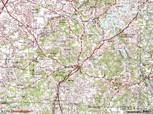 Zip code 42164 topographic map
