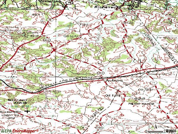 Zip code 42206 topographic map